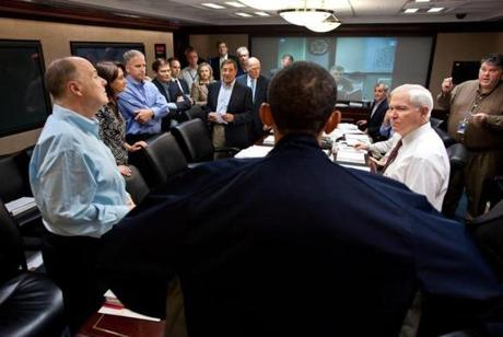 President Obama and members of his national security team after discussing the mission against Osama bin Laden in May 2011